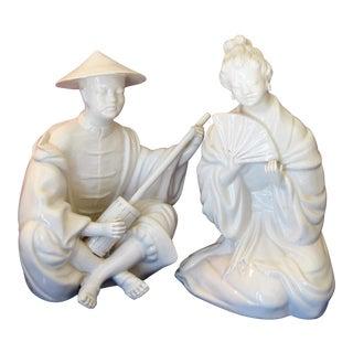 Chinoiserie Blanc De Chine Italian Figurines - Pair