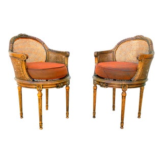 Neoclassical French Louis XVI Double Cane Tub Chairs- Pair