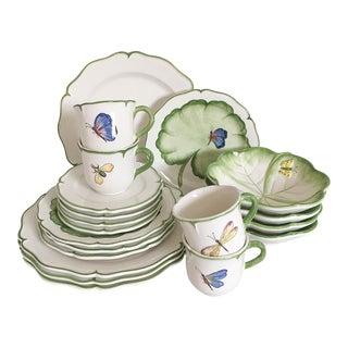 20 Pc. Italian Flora & Fauna Dinnerware, Service for 4