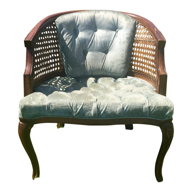 Mid-Century Cane Barrel Chair - Image 1 of 11
