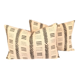 Vintage African Black & White Mudcloth Pillows - a Pair