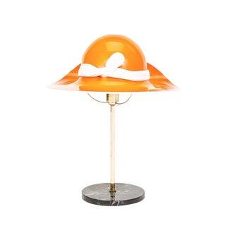 Mid-Century Orange Murano Hat Lamp