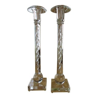 Columnar Glass Air Twist Candlesticks- A Pair