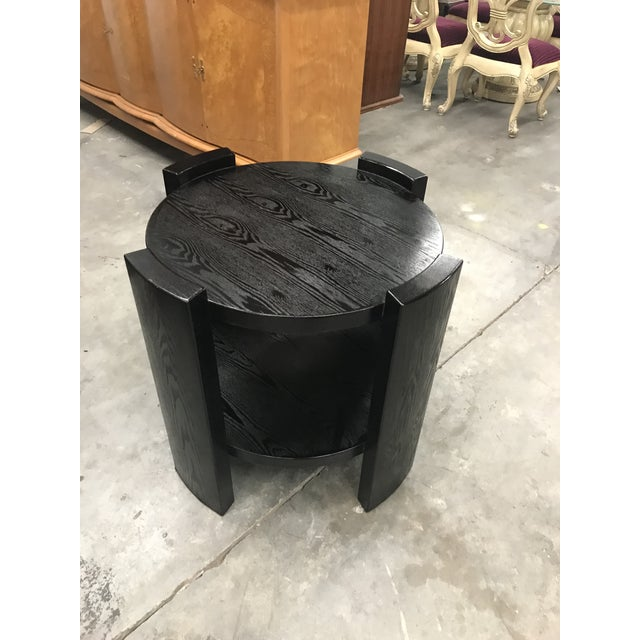 Monumental French Art Deco Solid Ebonized Cerused Oak Coffee Table Circa 1940s. - Image 5 of 11