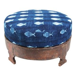 Mudcloth Cushion Grinder Table Ottoman
