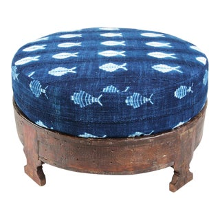 Mudcloth Cushion Grinder Table Ottoman