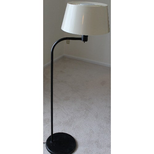 Retro Mod Black and White Floor Lamp - Image 2 of 6