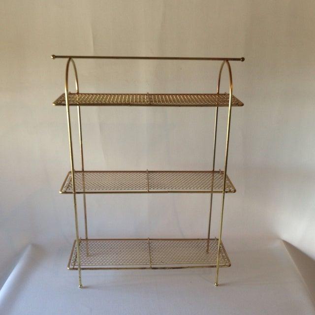 mid century modern brass shelving chairish. Black Bedroom Furniture Sets. Home Design Ideas