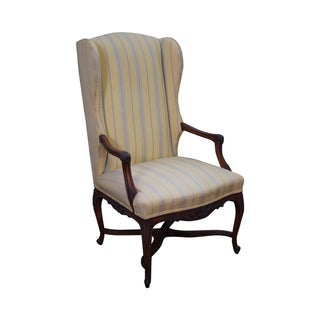 Custom Quality Vintage French Louis XV Wing Chair