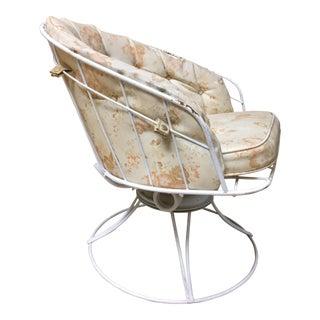 Mid Century Modern White Homecrest Swivel Metal Chair