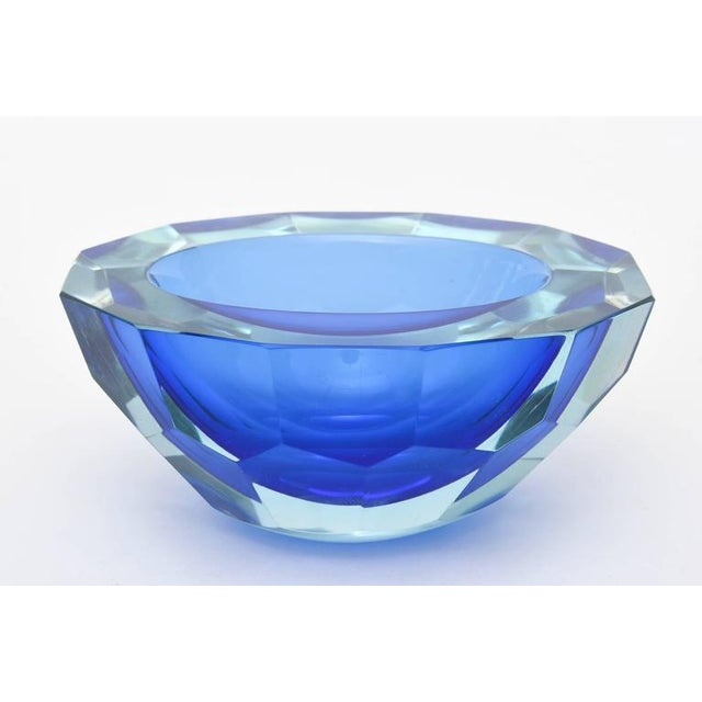 Italian Murano Sommerso Diamond Faceted Flat Cut Polished Glass Geode Bowl - Image 4 of 9