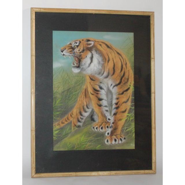 Amazing Pastel Art Tiger Painting W/Bamboo Frame - Image 2 of 8