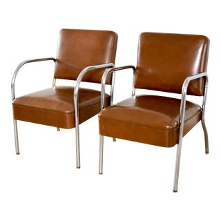 Mid Century Tubular Chrome and Vinyl Club Chairs - A Pair