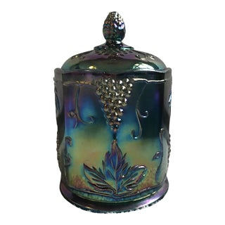 Indiana Blue Carnival Glass Harvest Grape Pattern Candy Jar