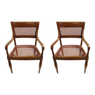 Vintage Woven Rattan Armchairs - a Pair