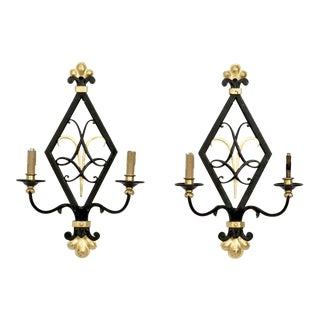 Black and Gilt Iron Art Moderne Style 2-Light Sconces - a Pair