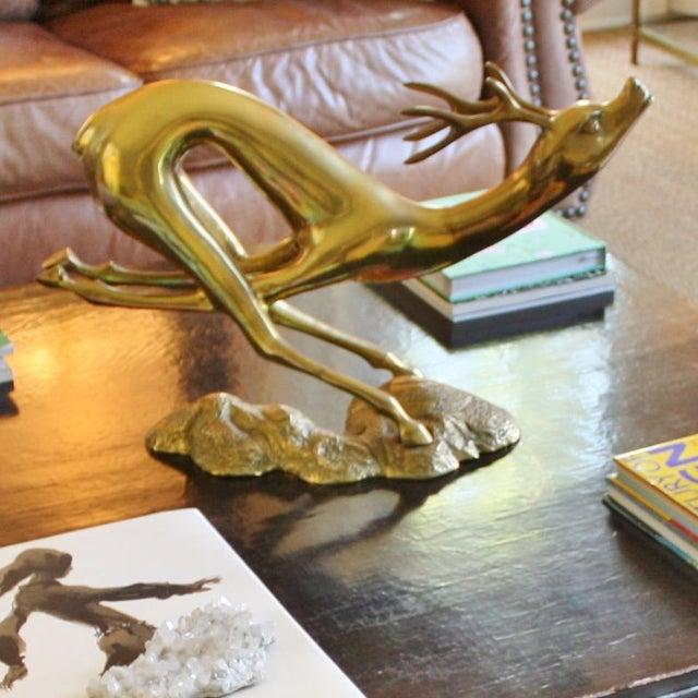 Vintage Large Brass Running Deer - Image 4 of 5