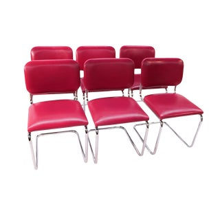 Loewenstein Mid-Century Chrome Cantilever Chairs - Set of 6