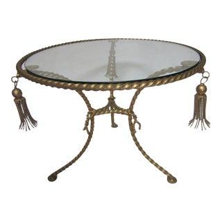 Italian Gilt Tassel & Glass Table