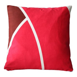 Red 1970s Dead Stock Graphic Throw Pillow