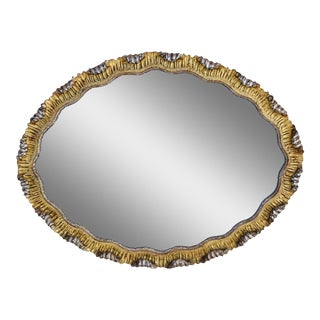 Large Vintage Italian Silver/Gold Gilt Carved Mirror