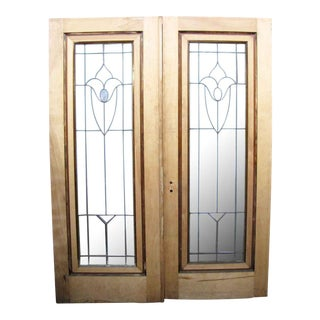 Leaded Glass Maple Doors - A Pair