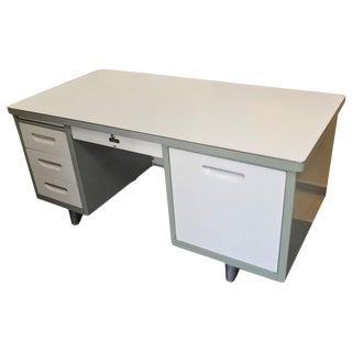 Mid-Century Industrial Steel & Chrome Tanker Desk