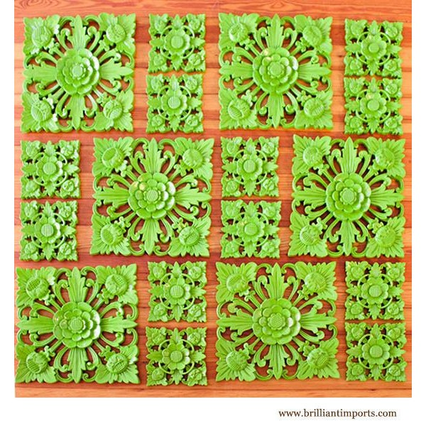 Retro Green Floral Wall Square, Large - Image 4 of 5