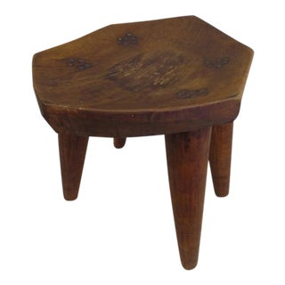 French 1930s Hand-Carved Modern Craftsman Stool