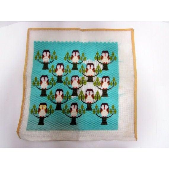 Owl Needlepoint Crewel Wall Pillows - Set of 3 - Image 4 of 5