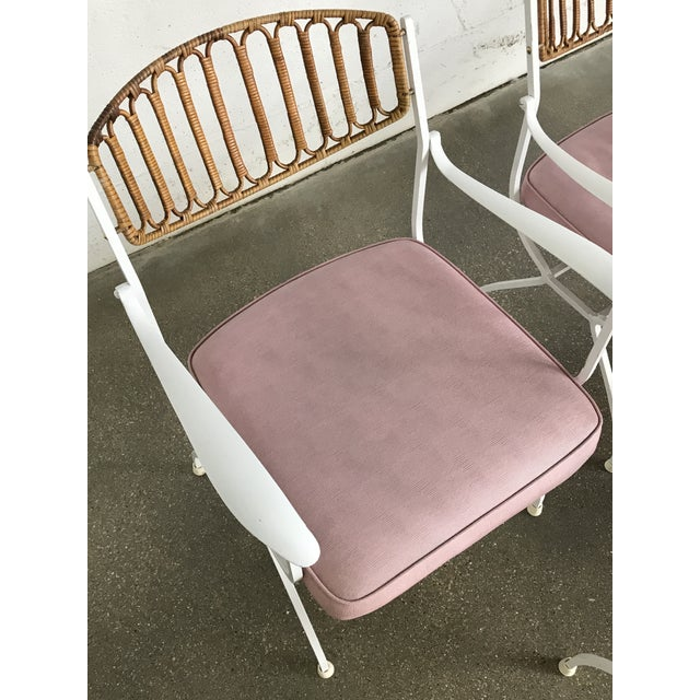 Mid-Century Modern Wrought Iron & Rattan Patio Dining Chairs - Set of 5 - Image 7 of 11