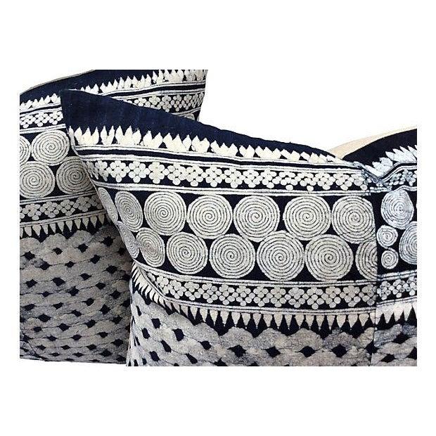Tribal Indigo Batik Pillows - Pair - Image 2 of 6