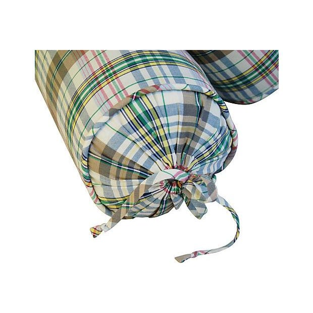 Custom Ralph Lauren Madras Bolster Pillows - Pair - Image 6 of 6