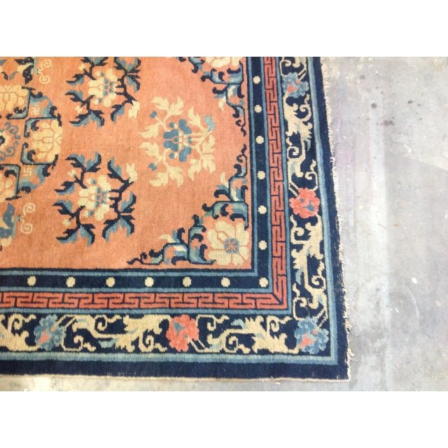 """Art Deco Navy & Coral Chinese Rug - 4'3"""" X 6'3"""" - Image 6 of 6"""
