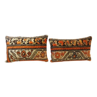 Antique Malayer Fragment Rug Lumbar Pillows - a Pair