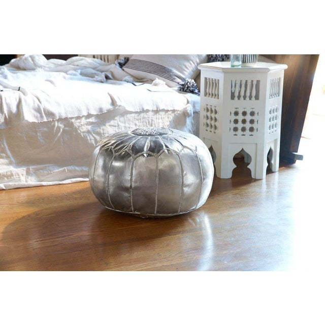 Embroidered Faux Metallic Leather Pouf, Bronze - Image 5 of 5