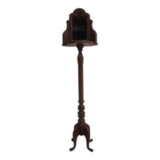 Vintage Pine Carved Pedestal Shaving Mirror Stand Cheval
