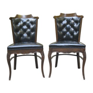 Mid Century Black Tufted Side Chairs - Pair