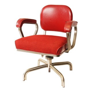 Vintage Industrial Red Upholstered Swivel Office Chair