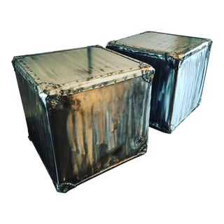Steel Wrapped Cube Side Tables - A Pair