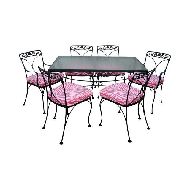 Image of Woodard Vintage Wrought Iron Rose Patio Dining Set