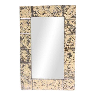 Cream Diamond Tulip Tin Panel Mirror