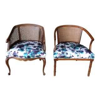 Wood & Cane Side Chairs - A Pair