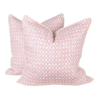 Custom Pink & Ivory Linen Ogee Pillows - A Pair
