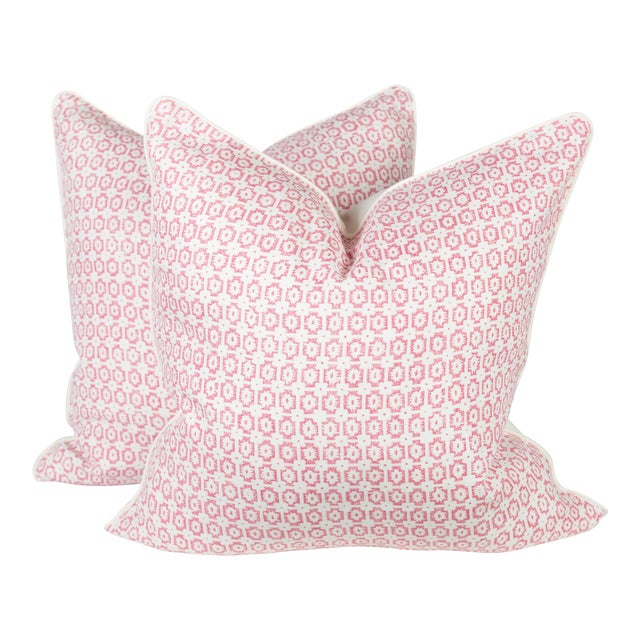 Custom Pink & Ivory Linen Ogee Pillows - A Pair - Image 1 of 5