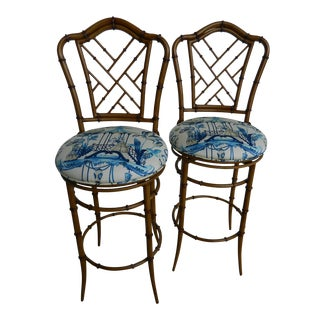 Chippendale Metal Faux Bamboo Bar Stools - A Pair