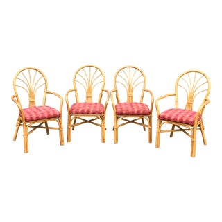 McGuire Style Rattan Fanback Dining Chairs - Set of 4