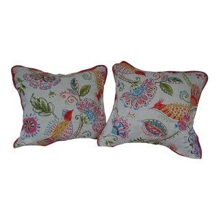 Bird & Floral Linen Pillows- A Pair