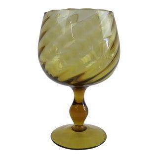 Italian Amber Optic Glass Goblet