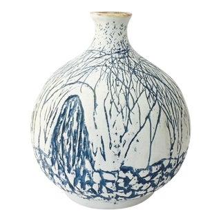 Vintage Large Carved Blue and White Studio Pottery Vase